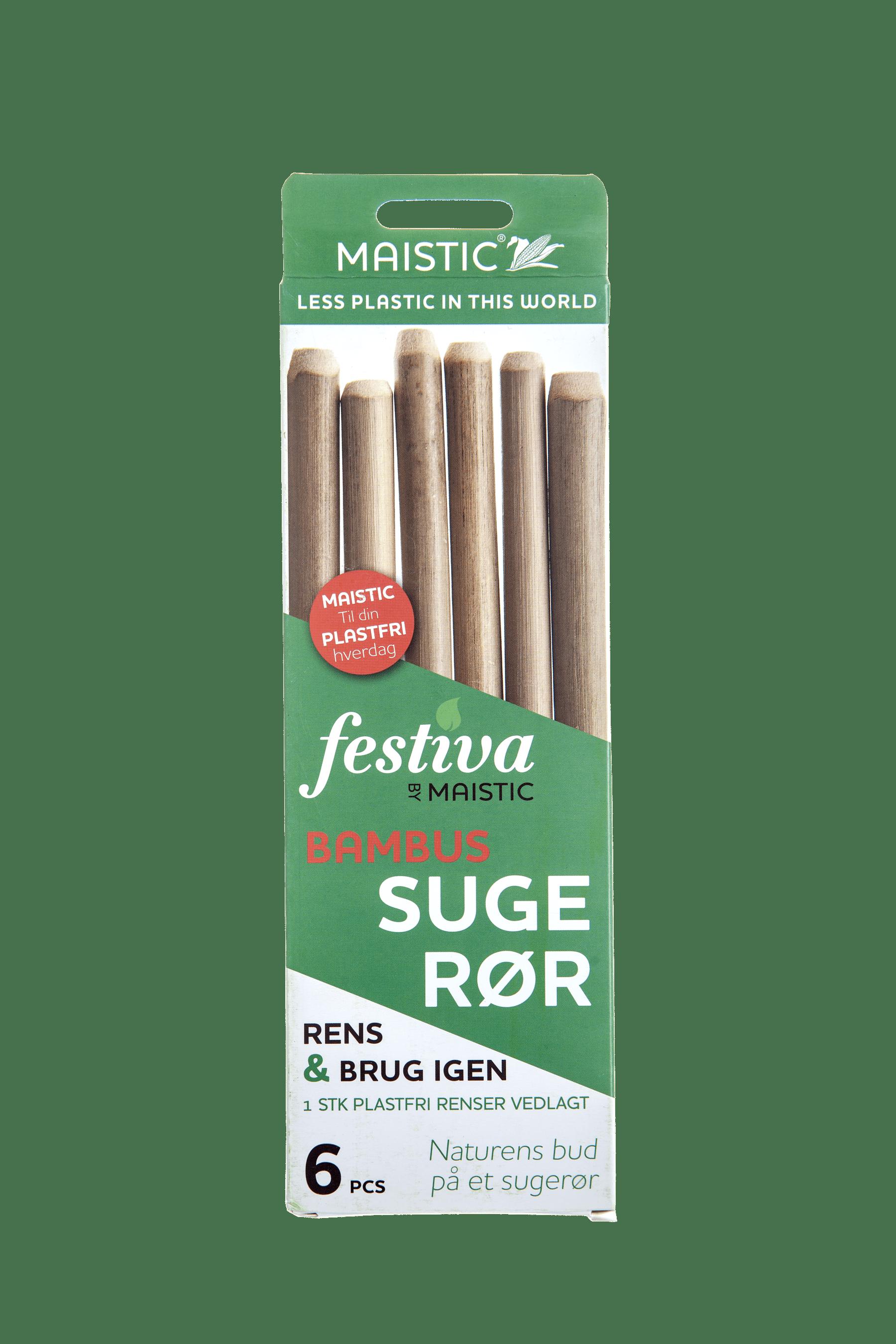 Bambus sugerør - pakke med 6 stk. inkl. sugerørsbørste