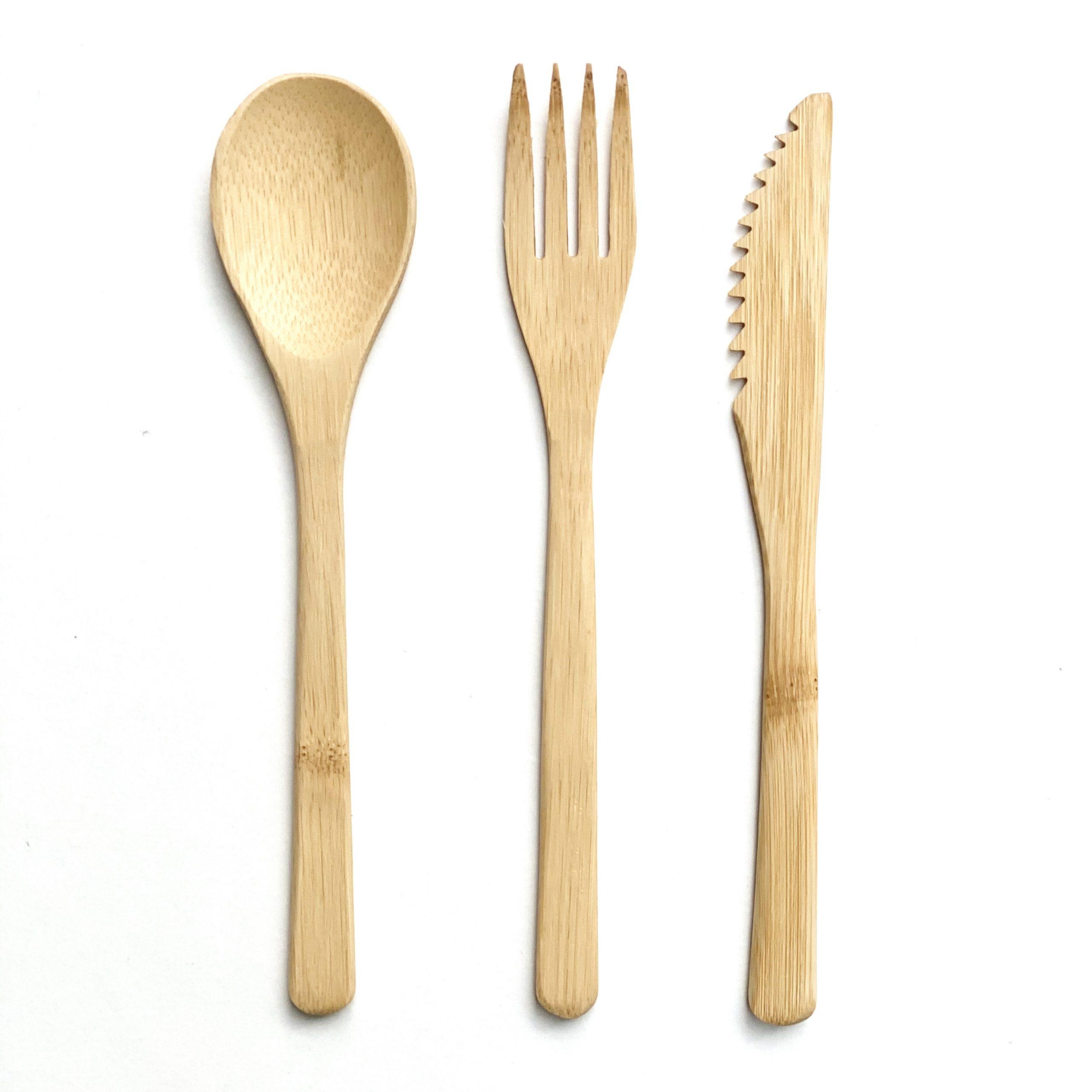 Bambusbestik - sæt med kniv, gaffel og ske