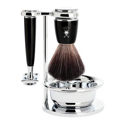 Barbersæt med Safety Razor, barberkost (Black Fibre), holder og skål – Rytmo – Sort