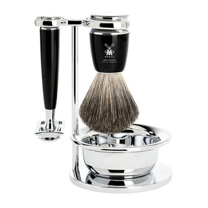 Barbersæt med Safety Razor, barberkost (Pure Badger), holder og skål – Rytmo – Sort