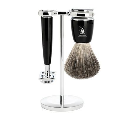Barbersæt med Safety Razor, barberkost (Pure Badger) og holder – Rytmo – Sort
