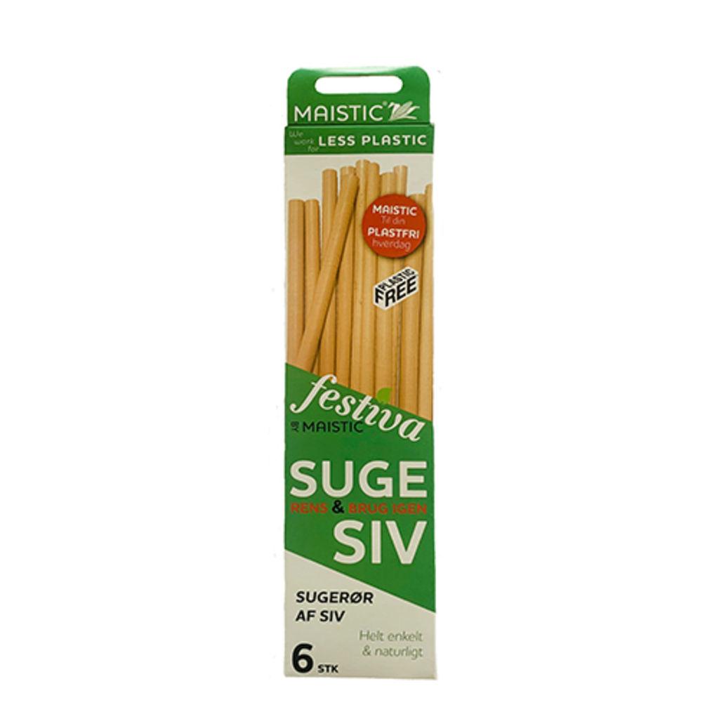 Sugerør af siv - pakke med 6 stk.